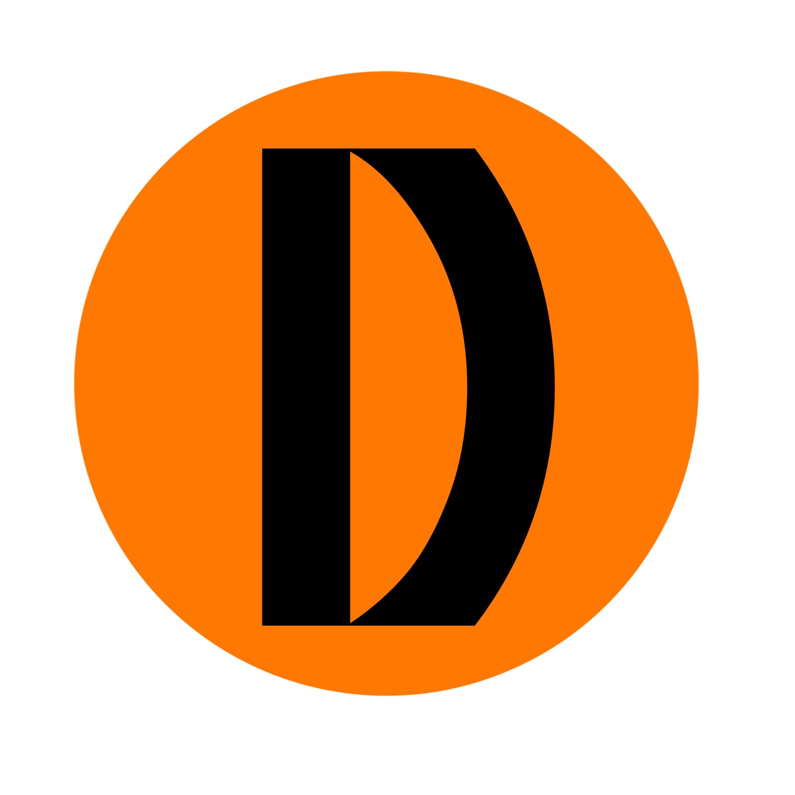 Dramalogen logo- Musta D oranssilla taustalla