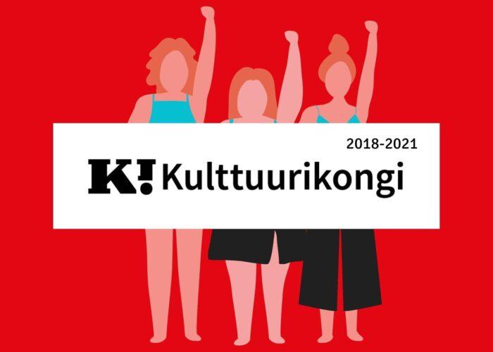 Punaisella taustalla naishahmoja toinen käsi ylhäällä. Teksti Kulttuurikongi kuvan päällä