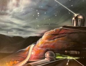Piirroskuva, jossa tie ja kallio. Pyöreästä rakennuksesta suuntautuu säde kohti avaruutta